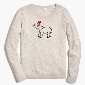 J Crew Factory cream Elephant Teddie embroidered Cotton sweater size XS